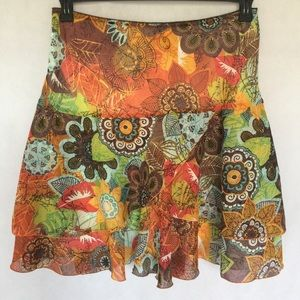New Tribal Tiered Floral Full Skirt Size 12